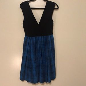A black and blue dress